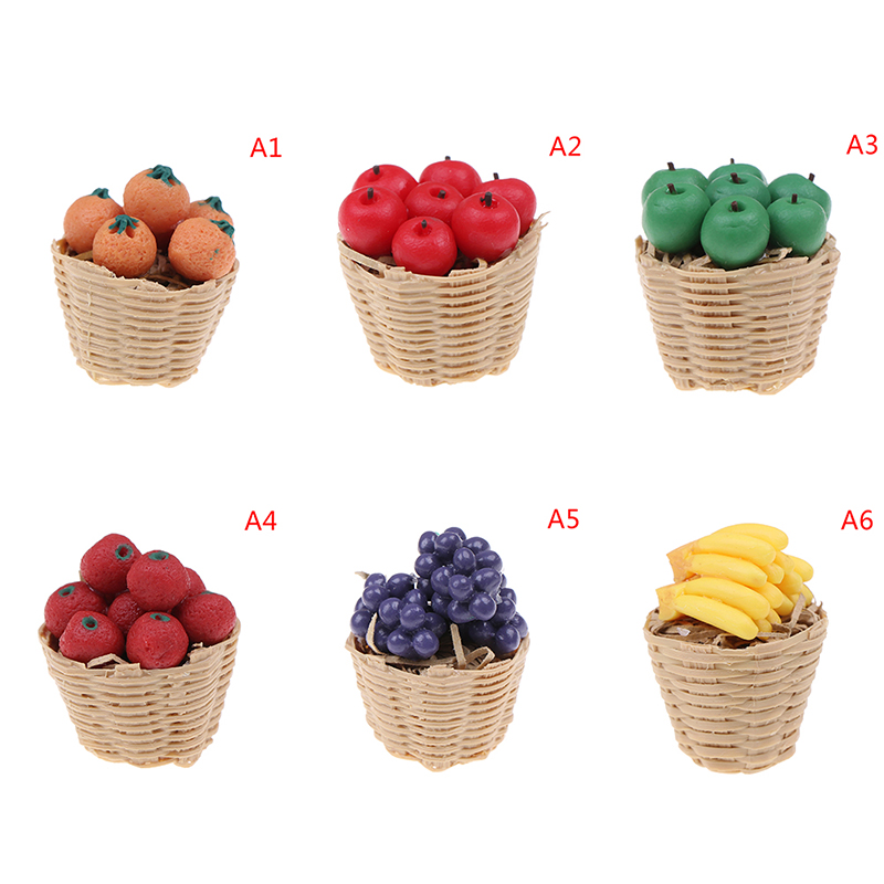 1/12 Dollhouse Miniature Accessories Mini Resin Fruits Basket Simulation Orange Apple Grape Model Toys For Doll House Decoration