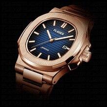 PLADEN 2019 orologio da uomo di marca di lusso quadrante blu orologi in oro rosa uomo 2019 bottiglia dacqua in acciaio inossidabile orologio da uomo regali per uomo