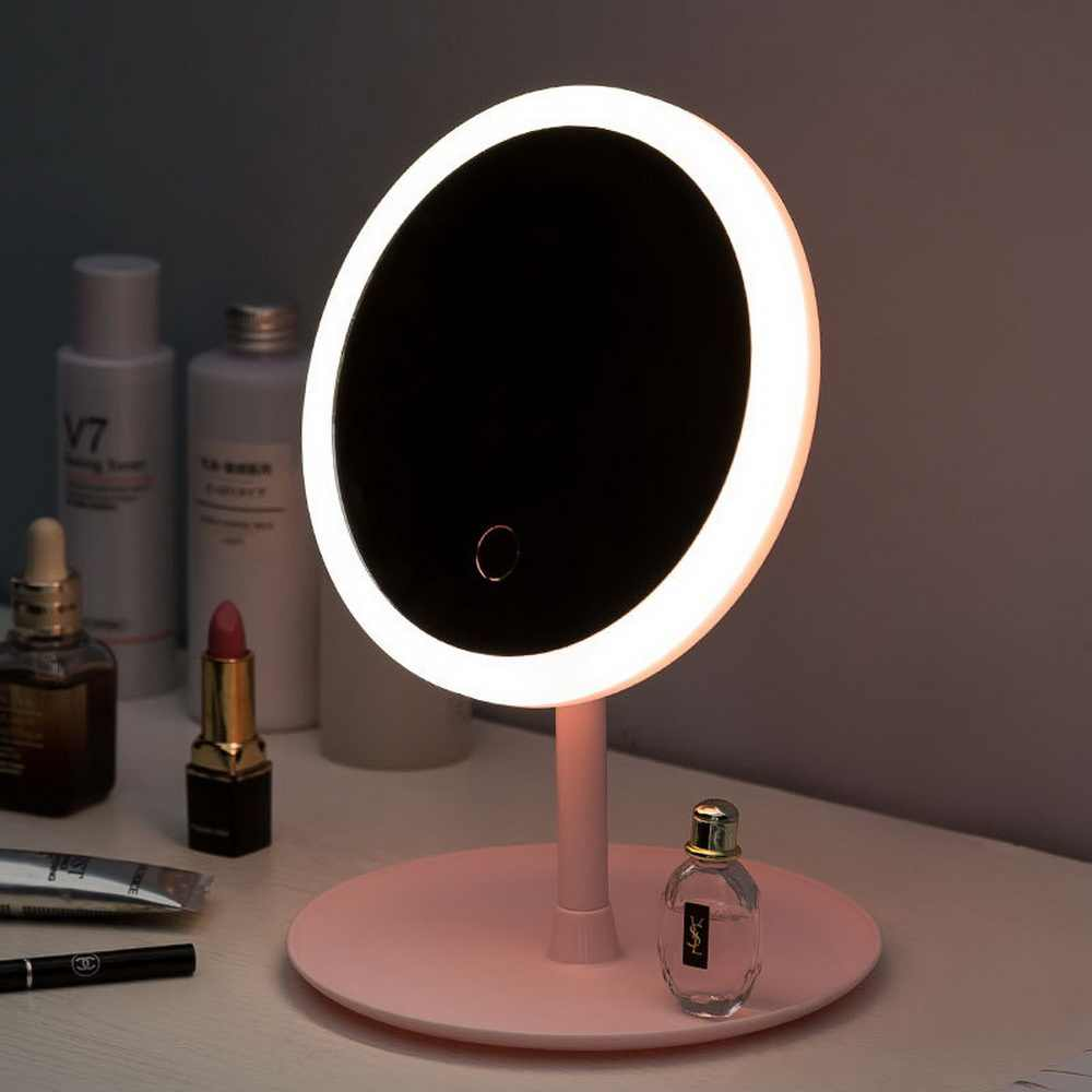 Maquillaje espejo Led retroiluminado con luz blanca Natural LED luz diurna desmontable almacenamiento Base 3 modos a Espelho Lustro LD