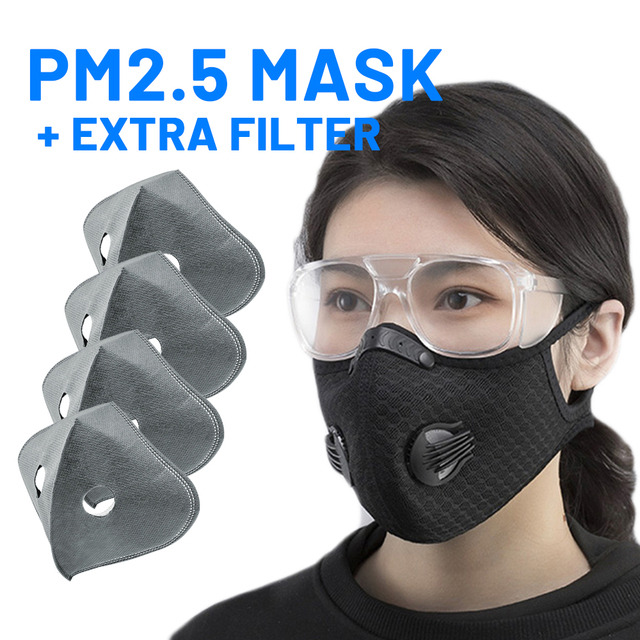 Mouth Mask PM2.5 Filter Windproof with Breathable Valve Mouth-muffle Anti-foga Dustproof Flu Reusable Cycling Face Mask