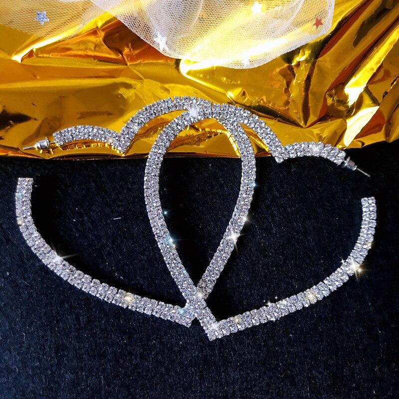 FYUAN Big Heart Crystal Hoop Earrings for Women Bijoux Geometric Rhinestones Earrings Statement Jewelry Party Gifts