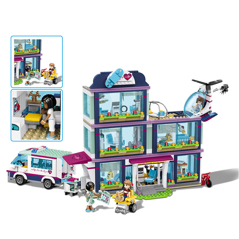 New 932pcs Friends Girl Compatible Lepining City 41318 Model Friends Building Blocks Heartlake Hospital Bricks Toy Girl Gifts