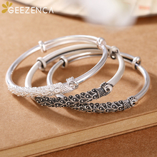 Vintage 999 Sterling Thai Silver Peacock Push-pull Bangle Bracelets Simple Ethnic Bangles Resizable Fine Jewelry for Women Cute