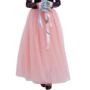 Image 2 - נשים של 7 שכבות 100CM ארוך טוטו טול חצאית אורך קומת קו טול מסיבת ערב חצאית חתונה כדור שמלת חצאית