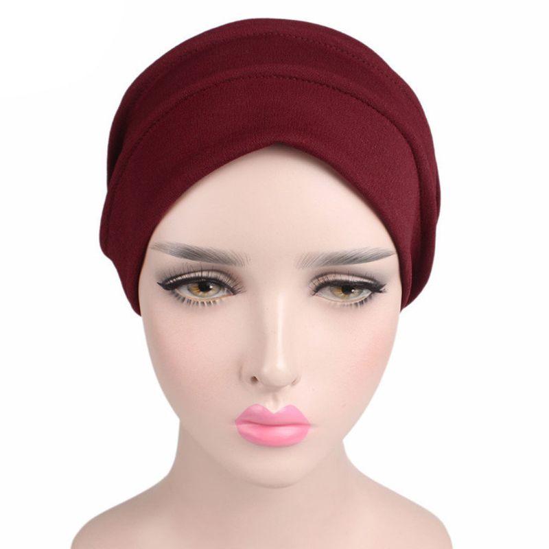 Image 2 - Fashion New Women Cotton Sleep Cap Cancer Beanie Muslim Turban  Hair Loss Chemo Hat Pleated for Lady Female 6 ColorsWomens Skullies