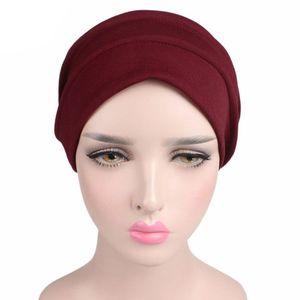Image 2 - Moda nowe kobiety bawełna czapka do spania rak czapka Turban muzułmański utrata włosów kapelusz po chemioterapii plisowana dla pani kobieta 6 kolorów