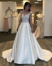 2020 Elegant Satin SCOOP Beach Wedding Dresses Illusion Lace A Line Gowns Court Train Vestidos De Novia Bridal