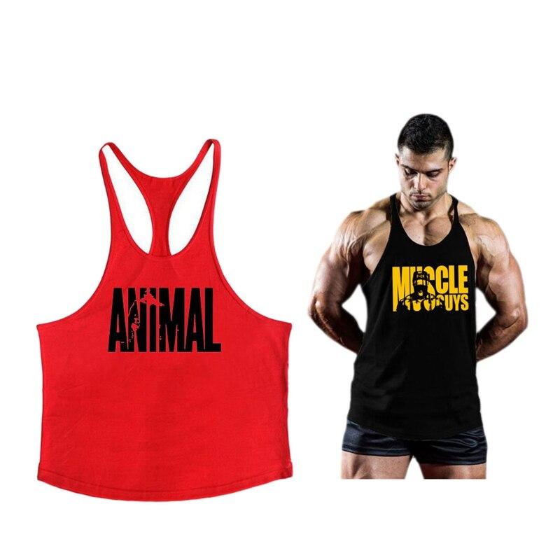 Muscleguys 2pcs Bodybuilding Clothing Mens Gym Tank Tops Men Sleeveless Shirt Singlets Fitness Clothing Cotton Workout Stringer