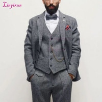 Linyixun Costume Mariage Homme Mens Suits For Wedding Custom Made Grey Tuxedo Traje Boda Hombre Blue Suit 3 Pieces Suits Mens