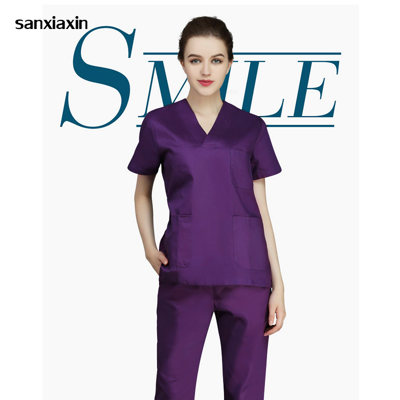 Viaoli Female Nurse's Suit Surgical Scrub Clothing Hospital Beauty Salon Doctor Nurse Uniform Shirt + Pants