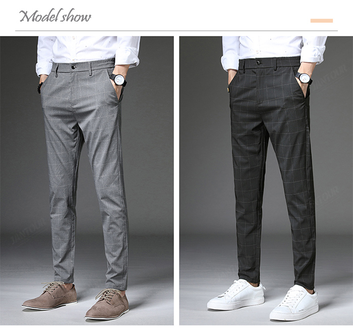 Jantour 2020 Spring New Casual Pants Men Slim Fit Plaid Fashion Gray black Trousers Male Brand Clothing business work pant 28-38 56