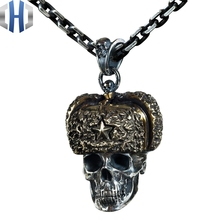 Skull China Lei Feng Cap Soldier Pendant Pendant Necklace Jewelry 925 Sterling Silver Copper Mixed Metal 925 sterling silver skull cross wing mens biker rocker pendant 9f028a necklace 24inch
