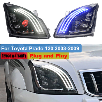 For Toyota Land Cruiser Prado 2700 120 GRJ120 TRJ120 FJ120 LC120 2003 ~ 2009 LED Headlight assembly DRL Dynamic turn signal Lamp