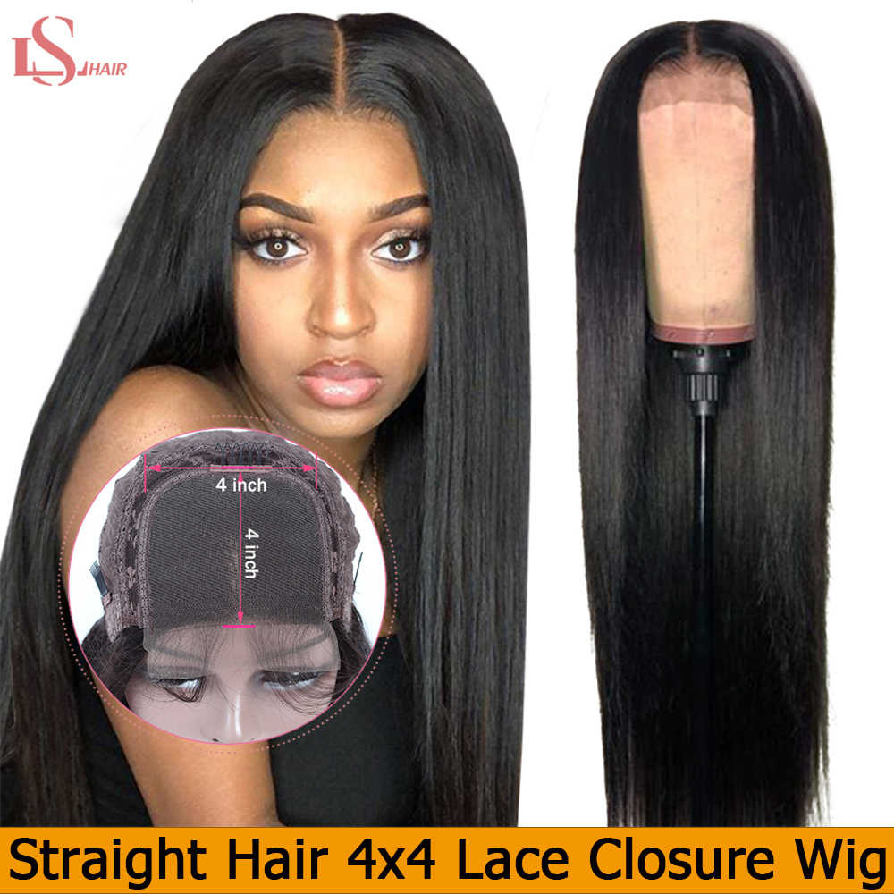 LS Hair 4X4 Closure Wig Brazilian Lace Closure Human Hair Wigs with Baby Hair 150% Straight Hair Wig for Black Women Remy Hai