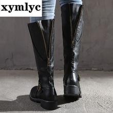 Женские сапоги до бедра коричневые винтажные кожаные колена