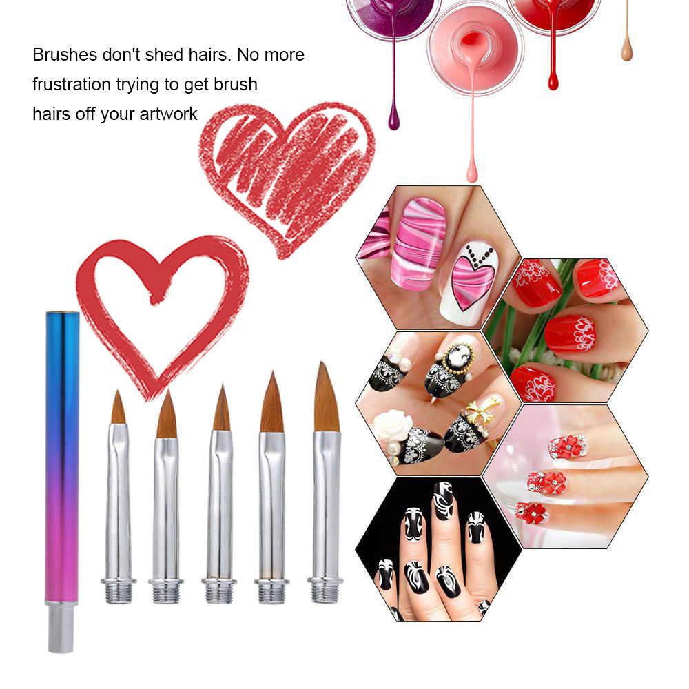 5 piezas Juego de brochas para decoración de uñas herramientas de maquillaje lápiz de manicura pedicura pintura de belleza pincel de dibujo para falso acrílico Natural las uñas