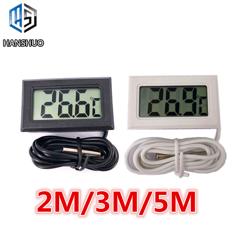 1 шт., цифровой мини-термометр с ЖК-дисплеем для использования внутри и вне помещения, 2 м/3 м/5 м с дистанционным датчиком для автомобиля