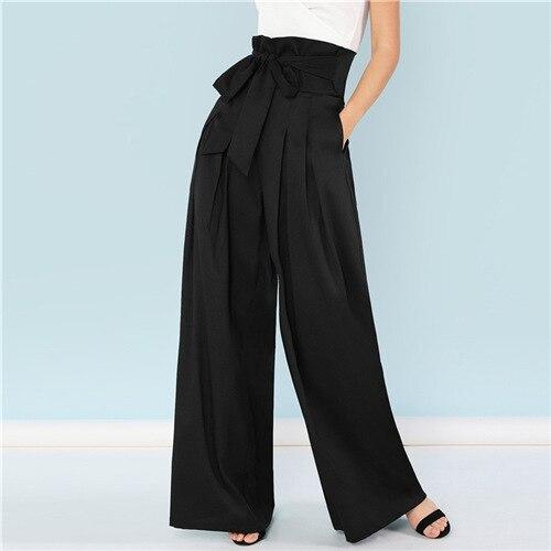 Noir auto ceinturé boîte plissée Palazzo Long pantalon femme lâche élégant OL travail pantalon femmes taille haute large jambe pantalon