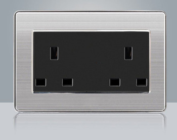 86 type LED random point USB switch mirror acrylic  household  stainless steel  brushed panel 4 Gang 2 Way switch Socket German 13