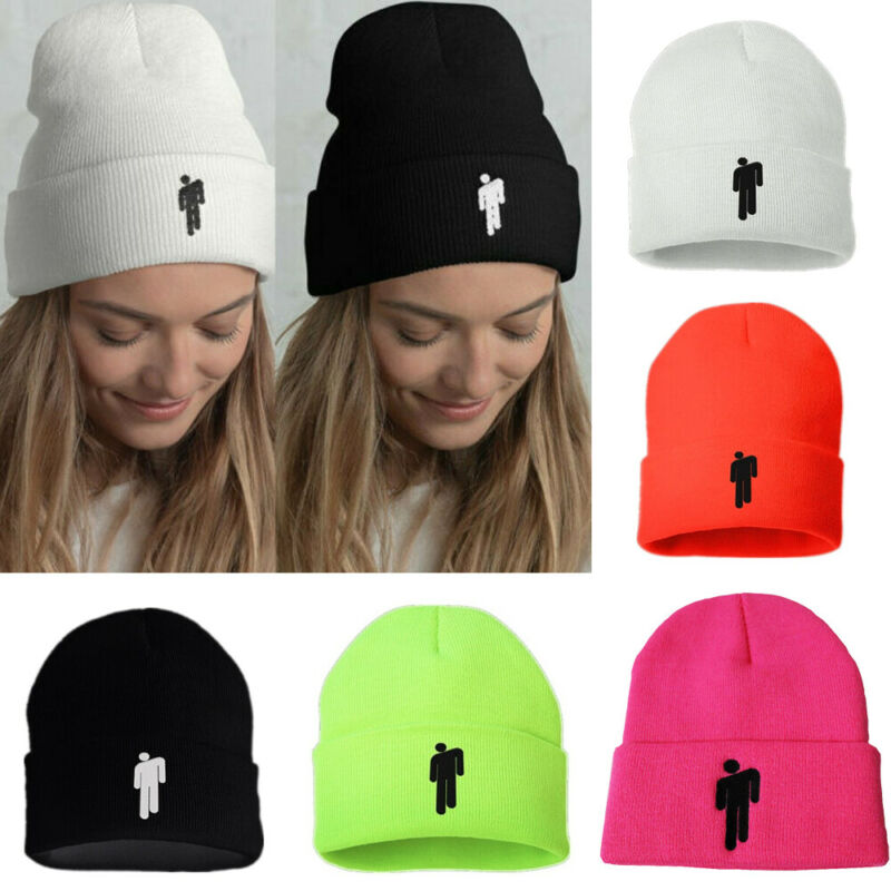 5 Color Unisex Women Men Billie Eilish Beanie Stickman Knit Hat Bonnet