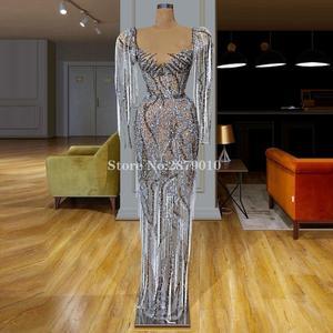 Image 4 - African Luxury Sparkly Long Sleeves Evening Dress Sheath Full Length Bling Sequins Beading Prom Dress Formal Dress 2020 Dubai