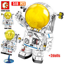 SEMBO Rockets Series Cute Astronaut 2 Figures Bricks Creator City Aerospace Science Technical Building Blocks Toys For Children