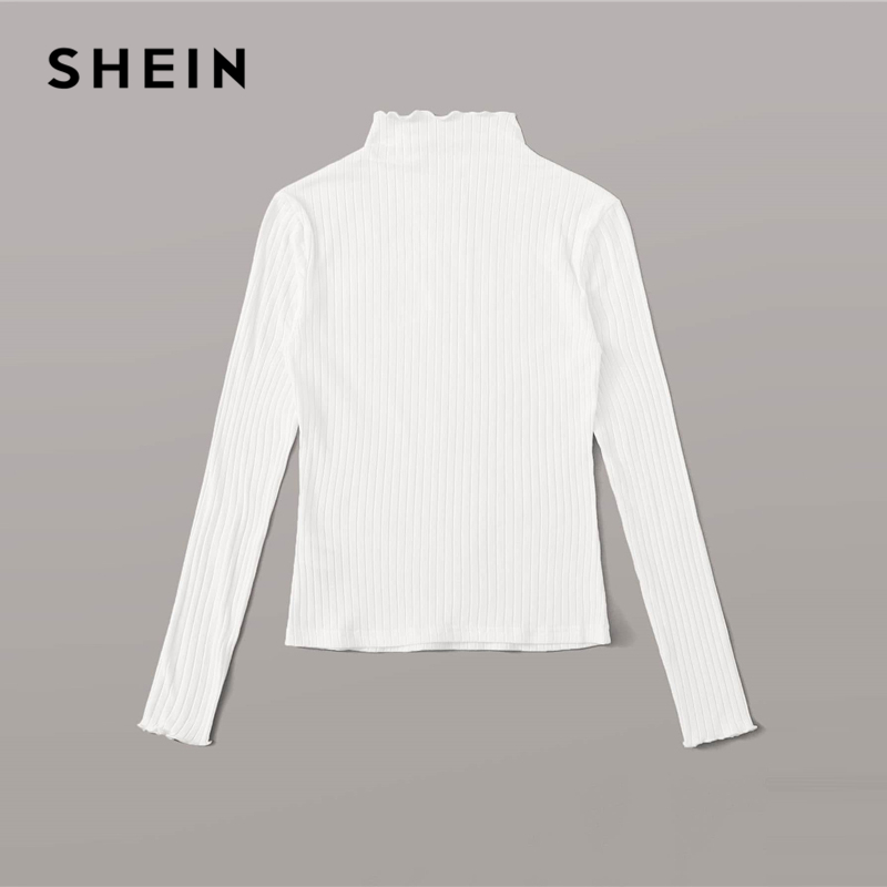 SHEIN Stand Collar Solid Lettuce Trim Ribbed Knit T Shirt Women Tees 2019 Autumn Long Sleeve Elegant Office Ladies Tshirts 2