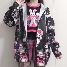 Outono hoodies finos bonito kpop mulheres harajuku camisolas japão hip hop com zíper hoodie casual harajuku topos kawaii
