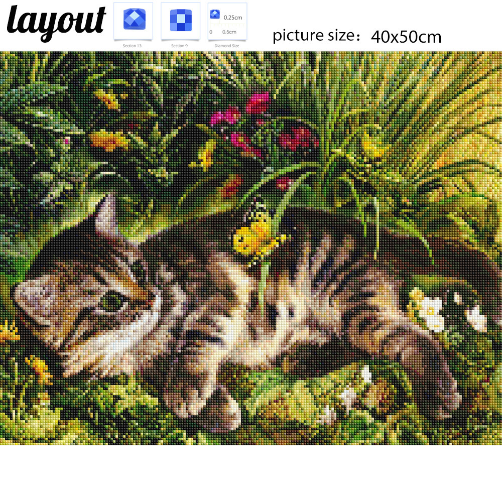 Diamond Embroidery Cat Full Square Diamond Painting Animal Cross Stitch Diamond Mosaic Cat Pictures Rhinestone Children Gift in Diamond Painting Cross Stitch from Home Garden