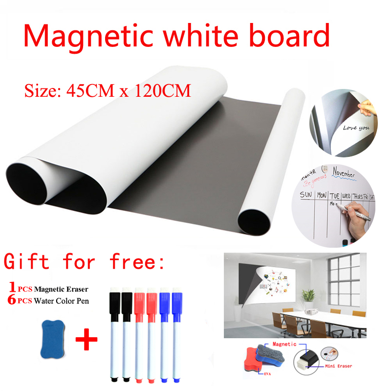 Size 45*120CM Dry Erase Whiteboard Magnetic White Board Soft Fridge Stickers Kitchen Office Child Draw Message Board Memo