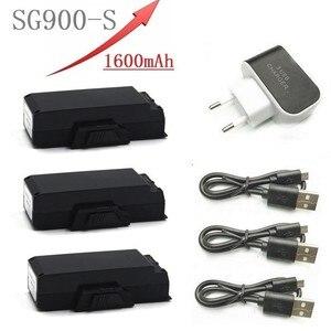 Bateria recarregável de 7.4v para a bateria de sg900s SG900-S 7.4v 1600 mah lipo e carregador de 3 portas para as peças sobresselentes do quadcopter do zangão de rc