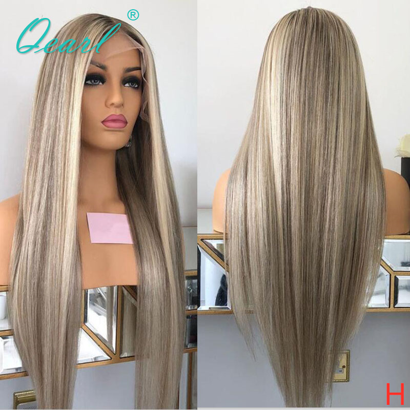 Human Hair Full Lace Wig Grey Ashy Blonde Highlights Color Straight Lace Wigs Remy Hair 130% 150% Pre-plucked Hairline Qearl