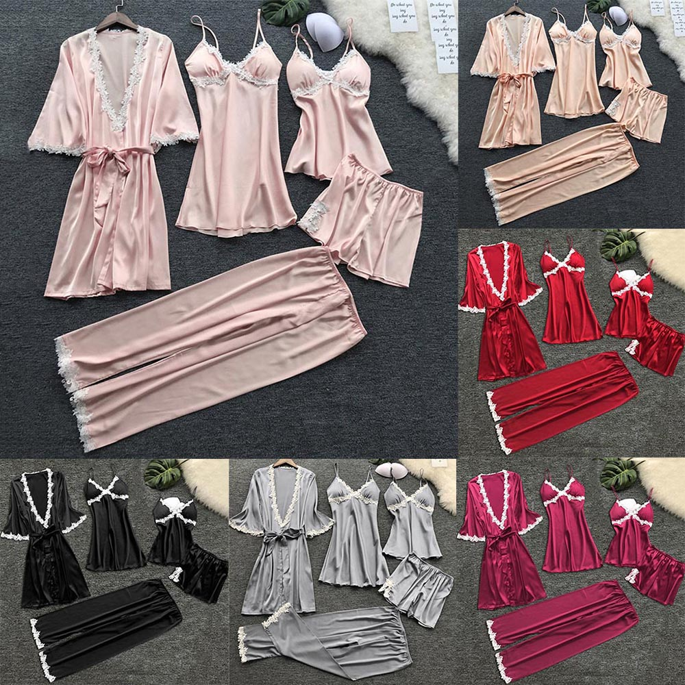 Women V-neck Nightdress Summer Babydolls Nightgown Sleepwear Sexy Lingerie Ladies Bathrobe Lace Multi -Piece Set Of Sexy Pajamas 5