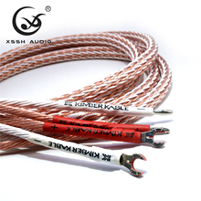 1 par XSSH audio de alta gama DIY HIFI plateado Y forma de pala a banana enchufes 12TC 24 cable de altavoz central cable