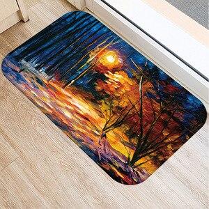 Image 2 - 40*60 センチメートル油絵風景マット非スリップスエードカーペットドアマットキッチンリビングルームのフロアマットベッドルーム装飾フロアマット。