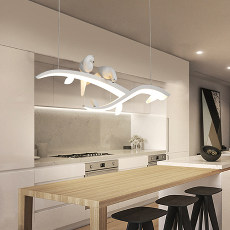 Modern Led Hanging Chandelier For Dining Room Kitchen Room Bar Shop Chandelier White With Bird 90-260V Free Shipping