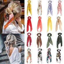 Moda çiçek baskılı saç Scrunchies uzun saç kadınlar için kurdele kızlar at kuyruğu tutucu eşarp elastik saç aksesuarları şapkalar