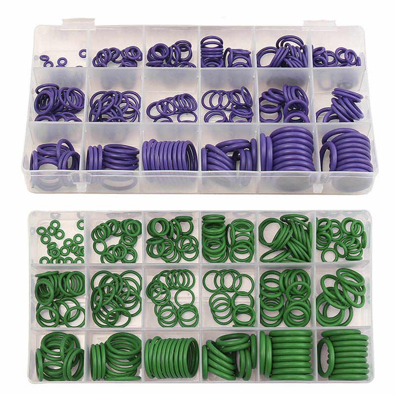 Surtido de arandelas de goma Suleve para aire acondicionado para R22 R134a, conjunto de juntas tóricas con sello de 270 piezas estándar verde/púrpura