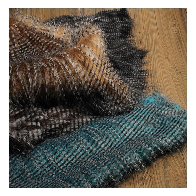 Pavão-penas jacquard falso tecido de pele de pelúcia para casaco colete De Pele De raposa gola 160*50cm 6cm cabelo comprido plush pele tissu telas