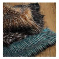 Pavone-piumato volpe jacquard faux della pelliccia della peluche tessuto per il cappotto della maglia collo di Pelliccia di 160*50 centimetri 6 centimetri capelli lunghi della pelliccia della peluche tissu telas