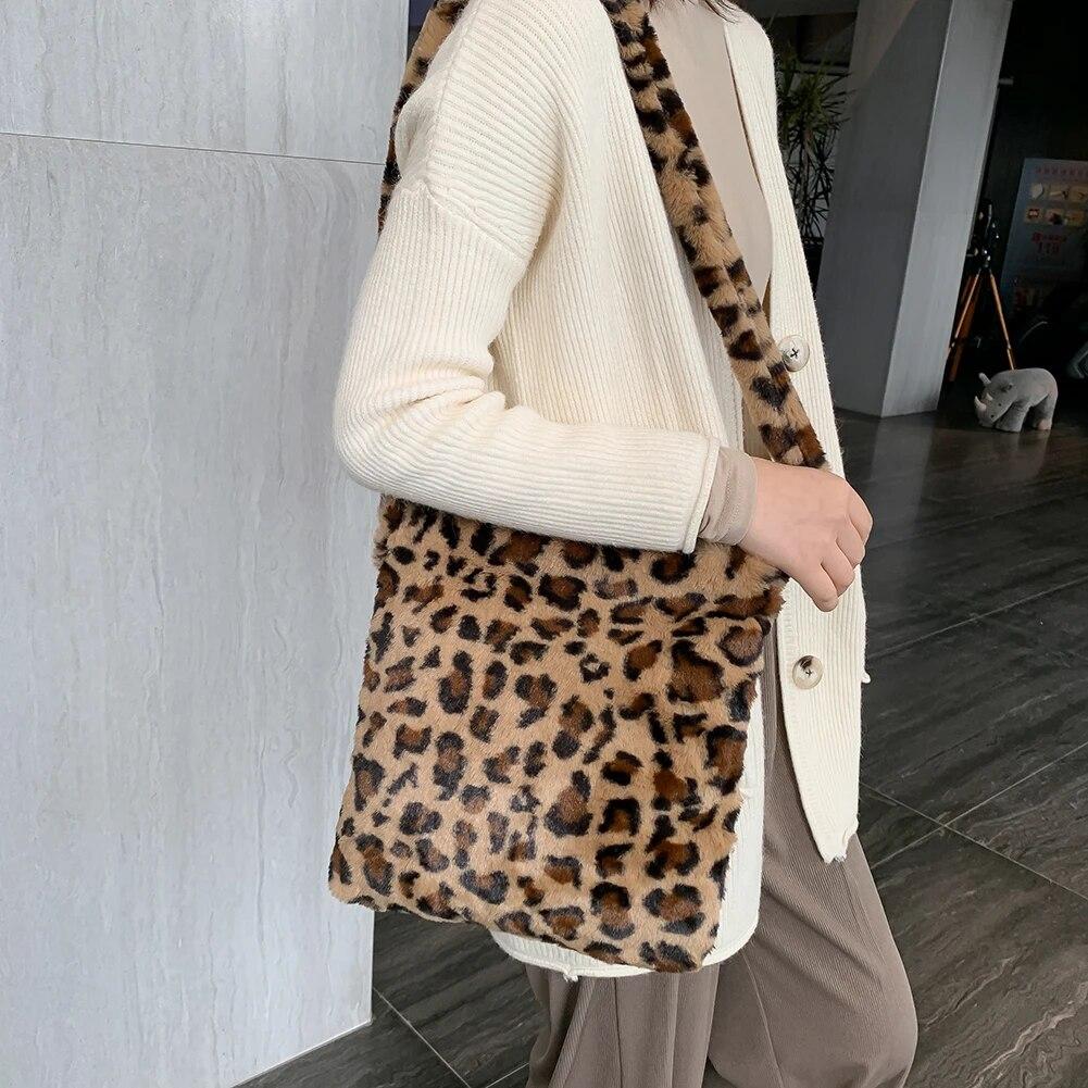Autumn Leopard Cow Pattern Totes Retro Plush Women Shoulder Top-handle Bag