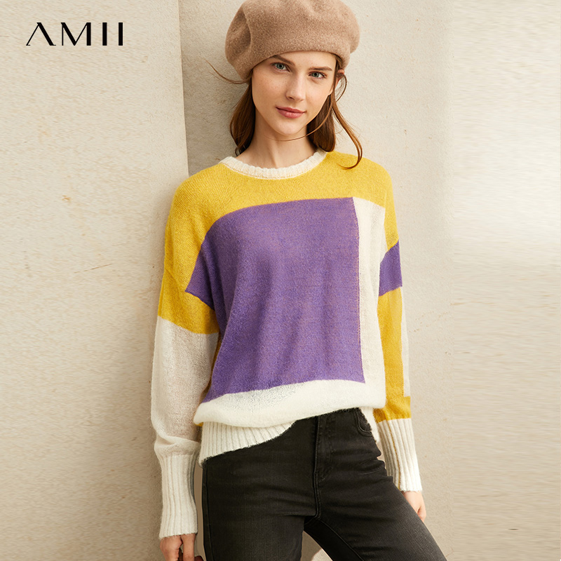 Amii Minimalist Personality Fashion Slouchy Wool Knitwear Women's New Contrast Patchwork Loose Pullover 11930458