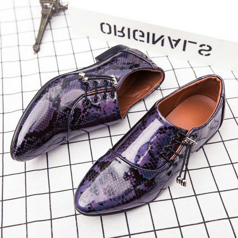 New fashion Men's leather shoes Snake print Pointed dress shoes Men Lace Up Business Shoes Oxford Shoes C21 64