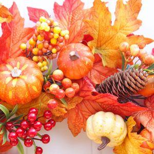 Image 4 - Pompoen Maple Leaf Krans Kunstmatige Bloemenkrans Herfst Oogst Thanksgiving Halloween Decoratie