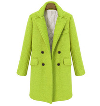 솔리드 와이드 허리 여성 긴 겨울 울 혼합 코트 따뜻한 패션 빈티지 양모 코트와 재킷 더블 브레스트 겉옷