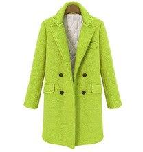 Feste Breite taille Frauen Lange Winter Wolle Mischung Mantel Warm Mode Vintage Wolle Mantel und Jacke Zweireiher Oberbekleidung