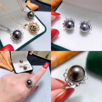 925 Sterling Silver Pendant Ring Earrings Set Mountings Findings Jewelry Set Parts Fittings Component for Pearls Beads Stones