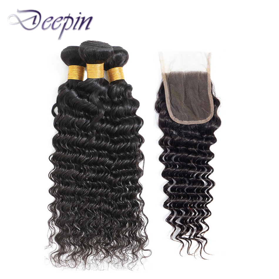 Deepin Deep Wave Hair Bundles With Closure For Black Women Peruvian Human Hair 3 Bundles With Closure Human Hair Extensions