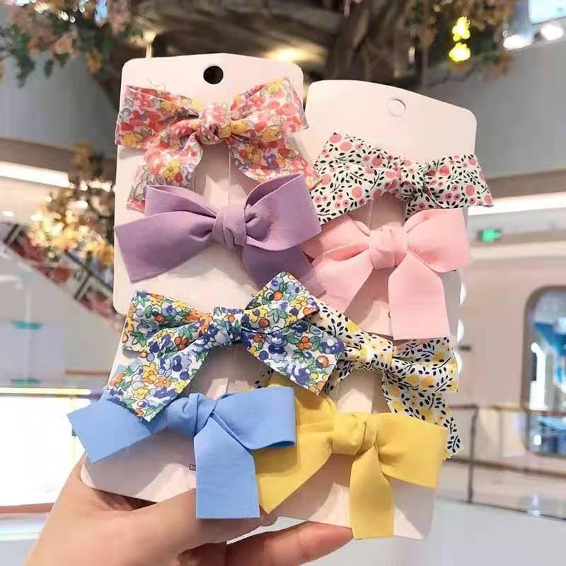 2Pcs/Set Baby Hair Clips Flower Children Side Bangs Bows Girls Hairpins Barrettes Kids Headwear Hair Accessories Ornament