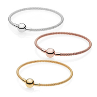 1:1 Original Authentic 925 Sterling Silver Shine Pans Mesh Bracelet Rose Gold for Women DIY Bead Charm Bangles Jewelry Gifts